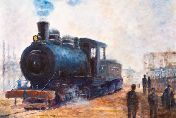 A landscape depicting a locomotive train