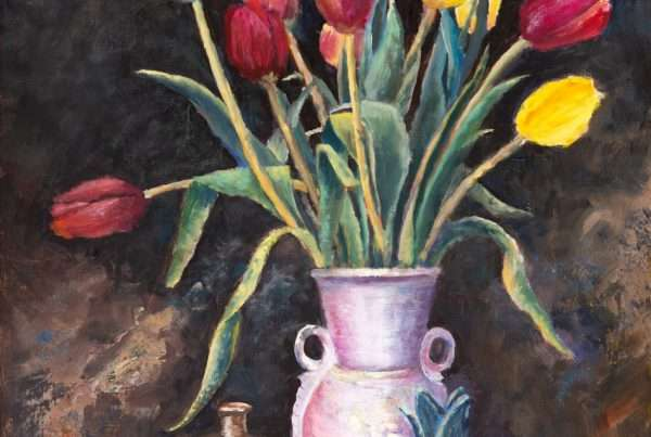 a painting of tulips