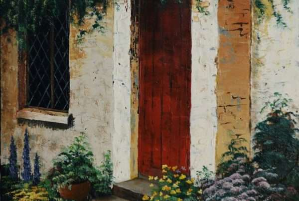 painting of cottage door