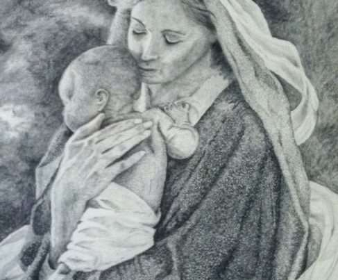 A drawing of woman holding a baby