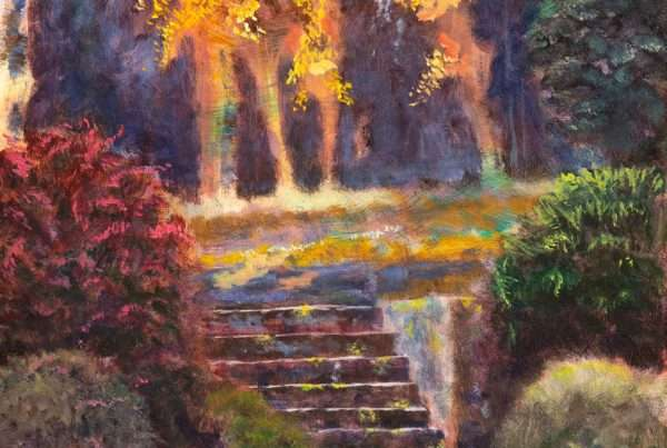 A scene depicting stairs and a forest