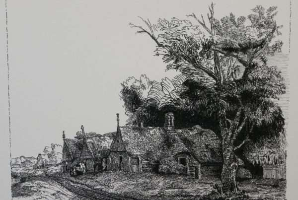 A drawing of a cottage