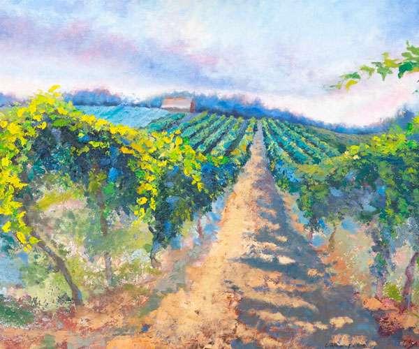 A scene depicting a vineyard