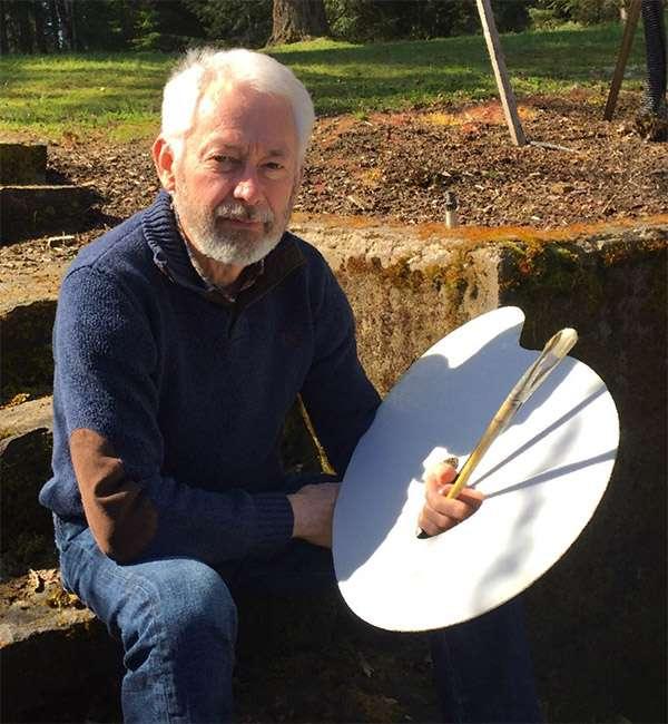Steve Leishman holding a paint palette