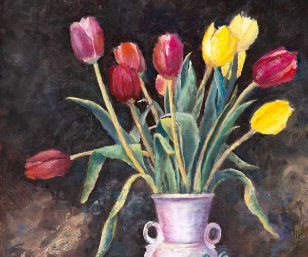 A vase of tulips