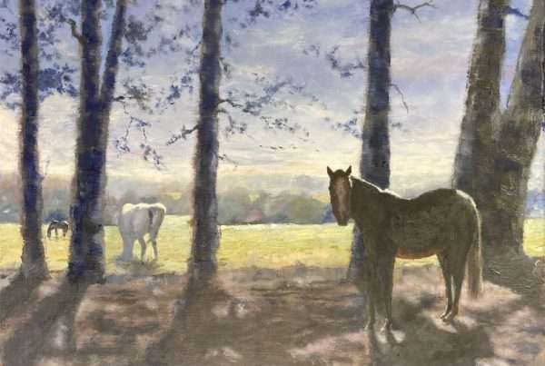 an plein air oil painting of horses