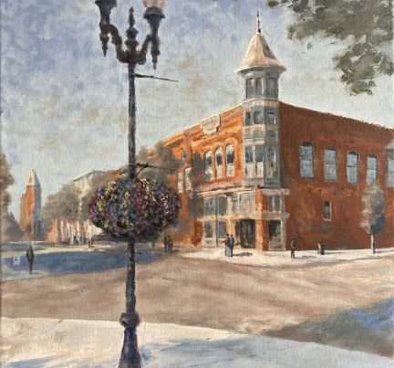 Oil painting of Main Street in Independence, OR.