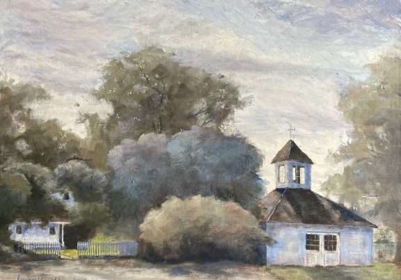 Oil painting of Fiechter Homestead located at Finley Wildlife Refuge.