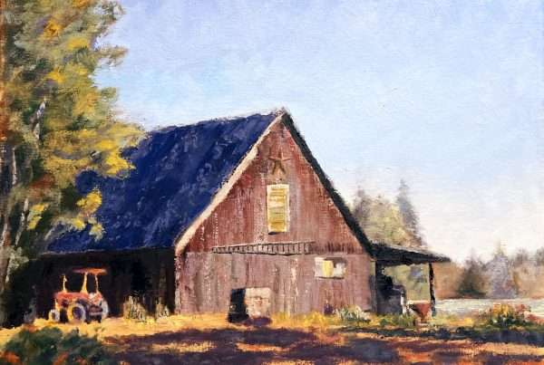 Oil painting of the barn at Peoria Farms in Oregon.