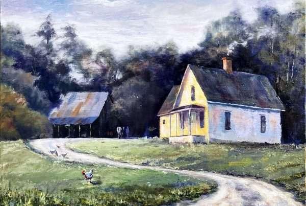Oil painting of pioneer homestead in Kings Valley, OR.