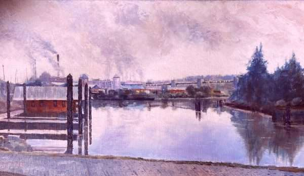 En plein air oil painting of Toledo OR harbor.