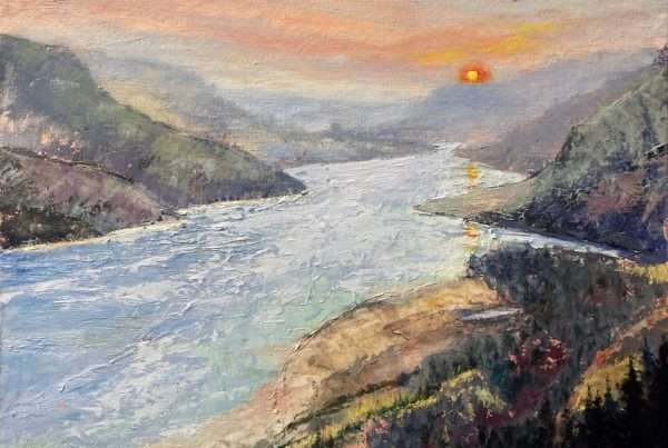 Oil painting of Columbia River Gorge.